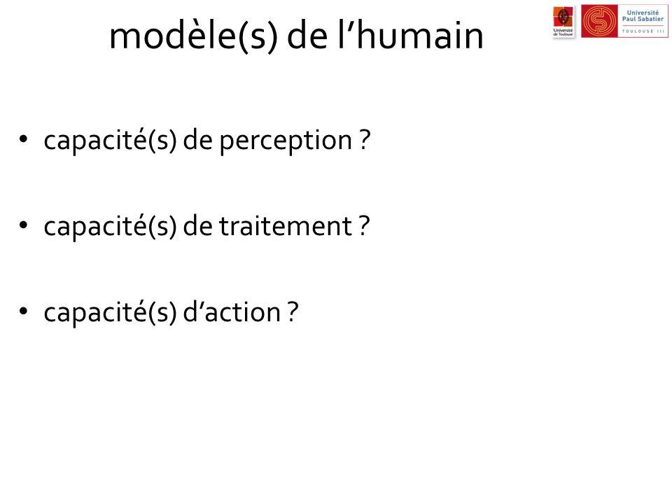 modèle(s) de lhumain capacité(s) de perception ? capacité(s) de traitement ? capacité(s) daction ?