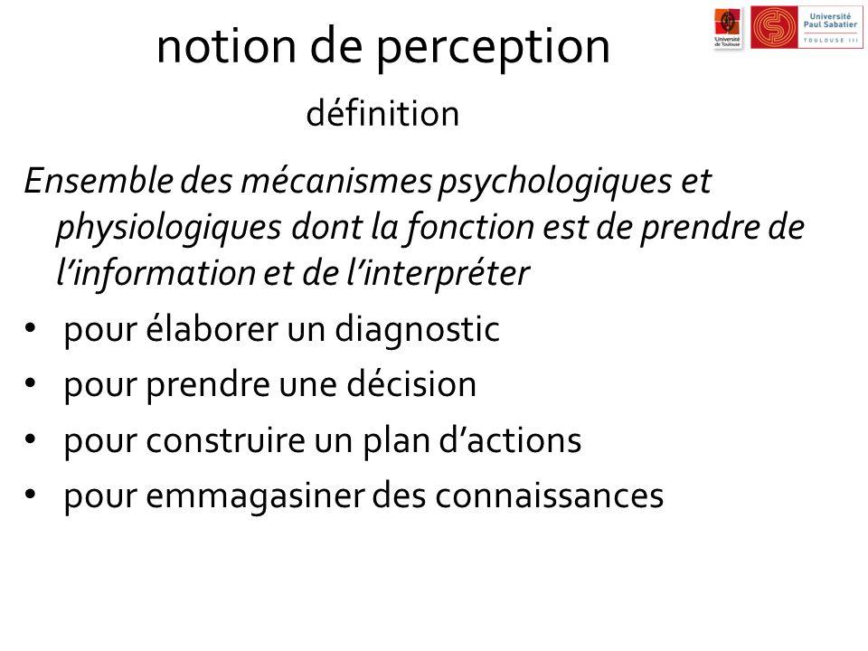 notion de perception définition Ensemble des mécanismes psychologiques et physiologiques dont la fonction est de prendre de linformation et de linterp
