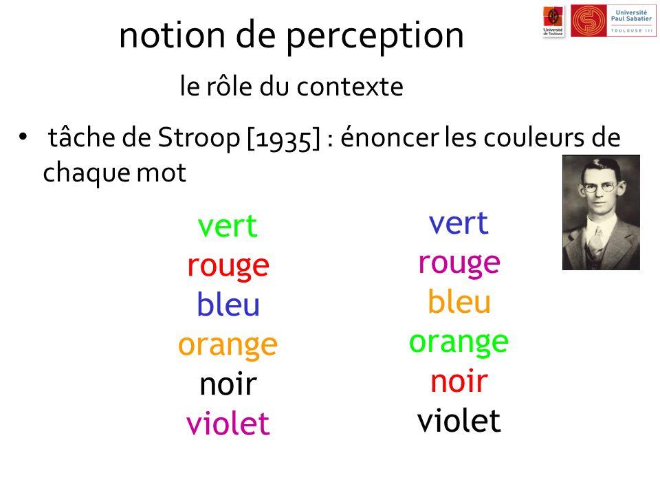 notion de perception le rôle du contexte tâche de Stroop [1935] : énoncer les couleurs de chaque mot vert rouge bleu orange noir violet vert rouge ble