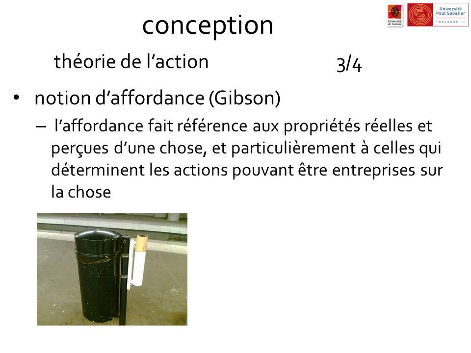 conception théorie de laction3/4 notion daffordance (Gibson) – laffordance fait référence aux propriétés réelles et perçues dune chose, et particulièr