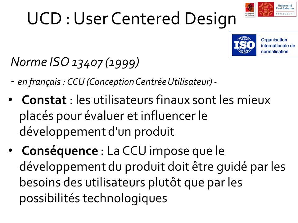UCD : User Centered Design Norme ISO 13407 (1999) - en français : CCU (Conception Centrée Utilisateur) - Constat : les utilisateurs finaux sont les mi