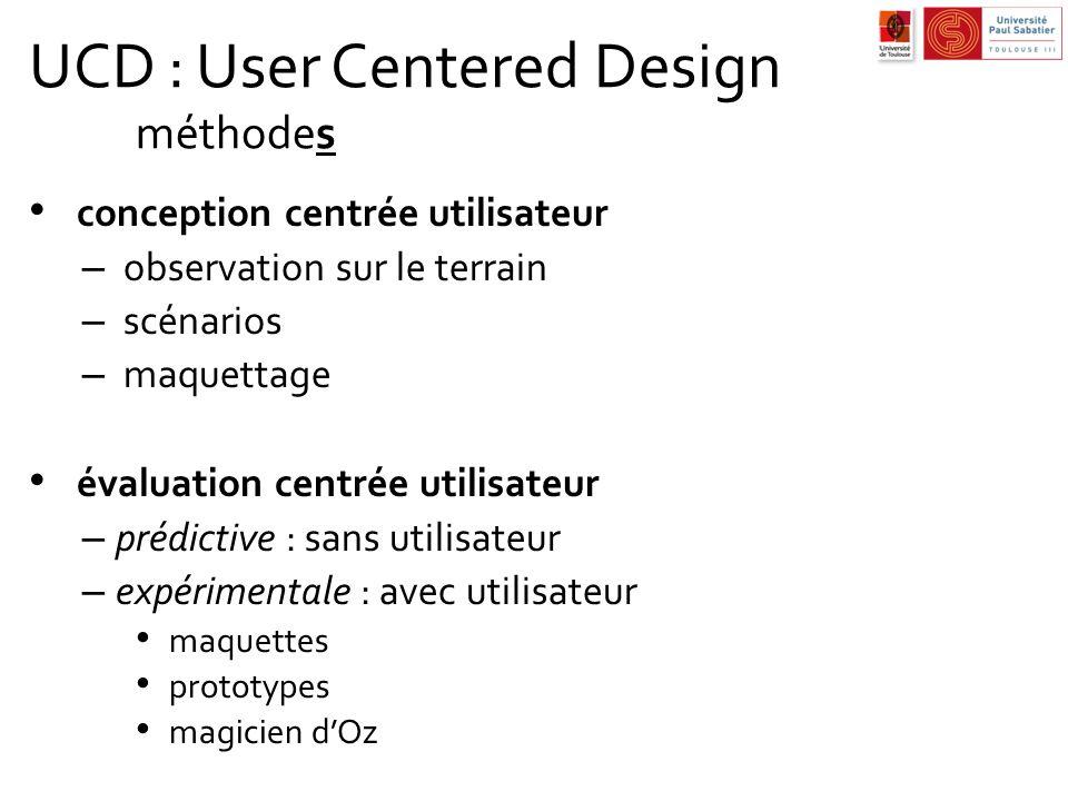 UCD : User Centered Design méthodes conception centrée utilisateur – observation sur le terrain – scénarios – maquettage évaluation centrée utilisateu