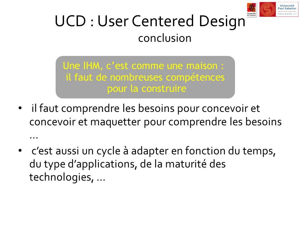 UCD : User Centered Design conclusion il faut comprendre les besoins pour concevoir et concevoir et maquetter pour comprendre les besoins … cest aussi
