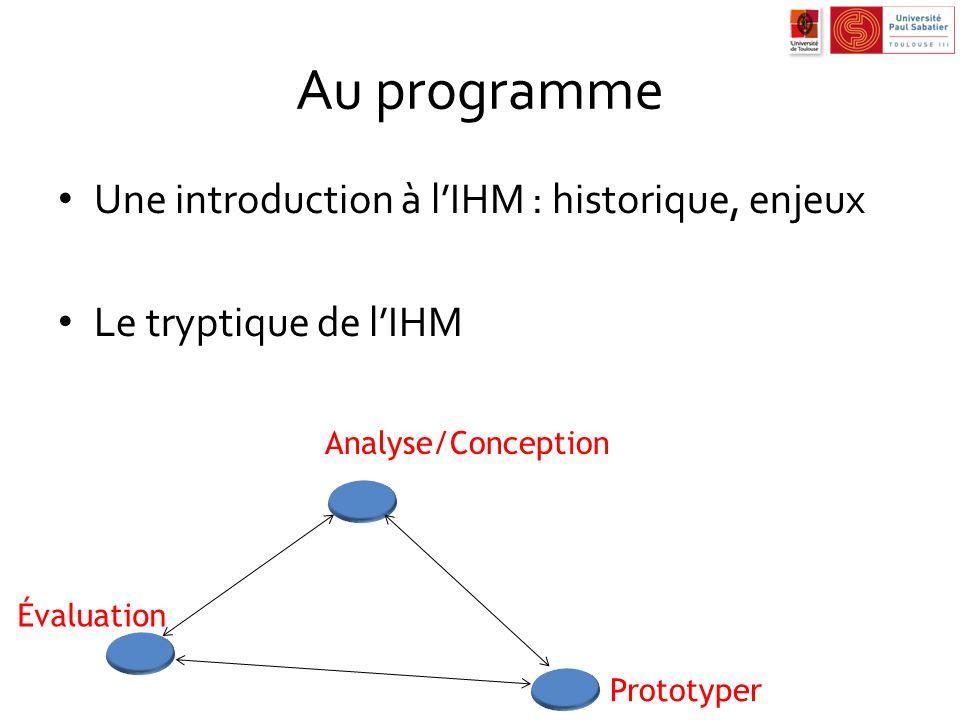 Au programme Une introduction à lIHM : historique, enjeux Le tryptique de lIHM Analyse/Conception Prototyper Évaluation
