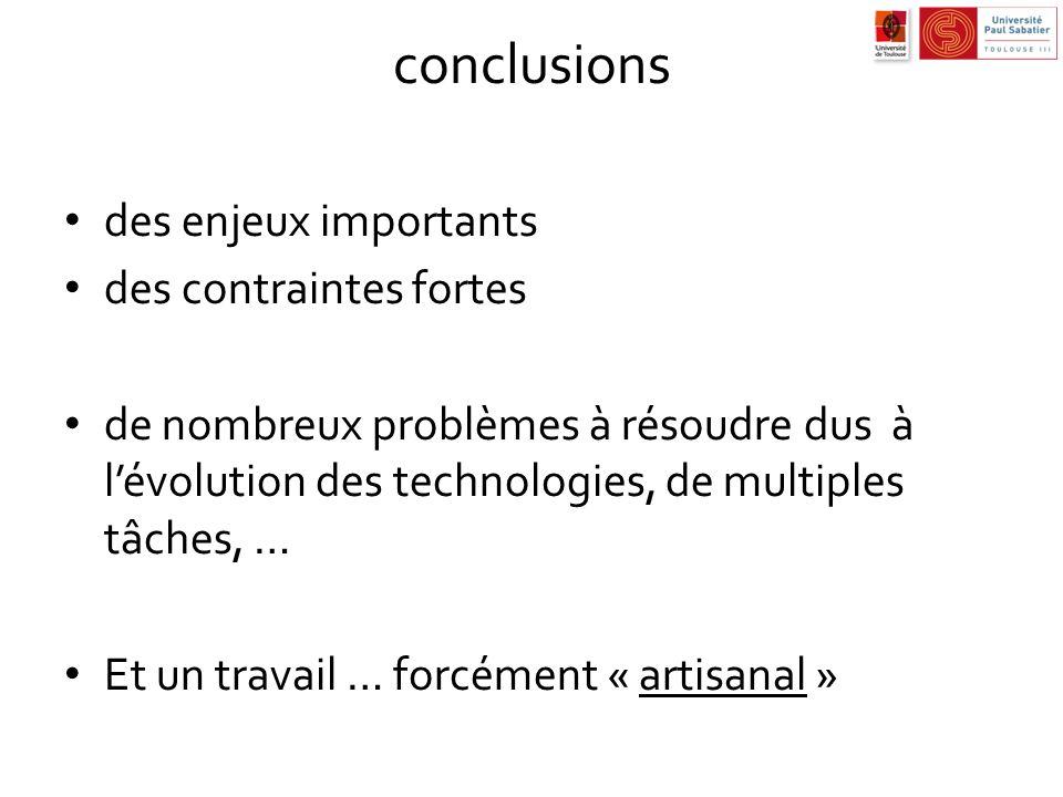 conclusions des enjeux importants des contraintes fortes de nombreux problèmes à résoudre dus à lévolution des technologies, de multiples tâches, … Et