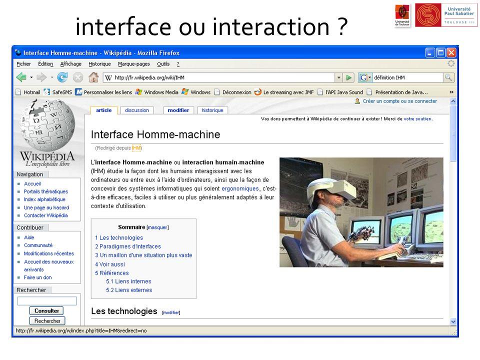 interface ou interaction ?