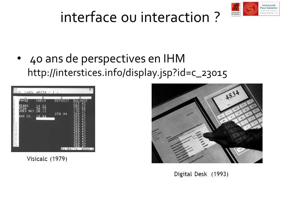 nouveaux paradigmes de lIHM aller plus loin que WIMP …1/7 nouveaux interacteurs – pie menus (Don Hopkins) – marking menus – visualisation BumpTop http://bumptop.com