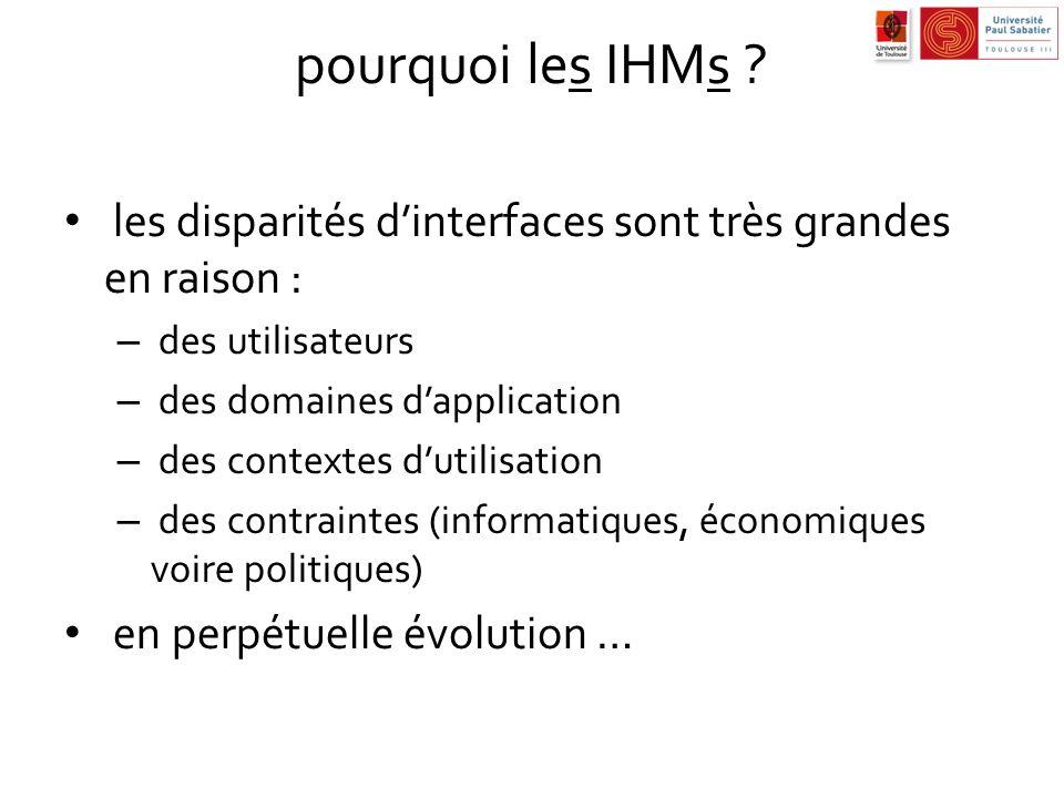 pourquoi les IHMs ? les disparités dinterfaces sont très grandes en raison : – des utilisateurs – des domaines dapplication – des contextes dutilisati