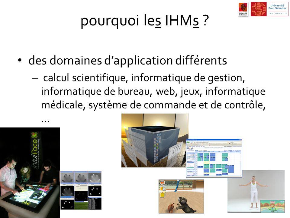pourquoi les IHMs ? des domaines dapplication différents – calcul scientifique, informatique de gestion, informatique de bureau, web, jeux, informatiq