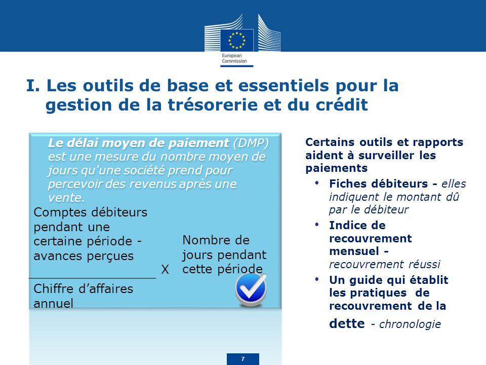 I. Les outils de base et essentiels pour la gestion de la trésorerie et du crédit Certains outils et rapports aident à surveiller les paiements Fiches