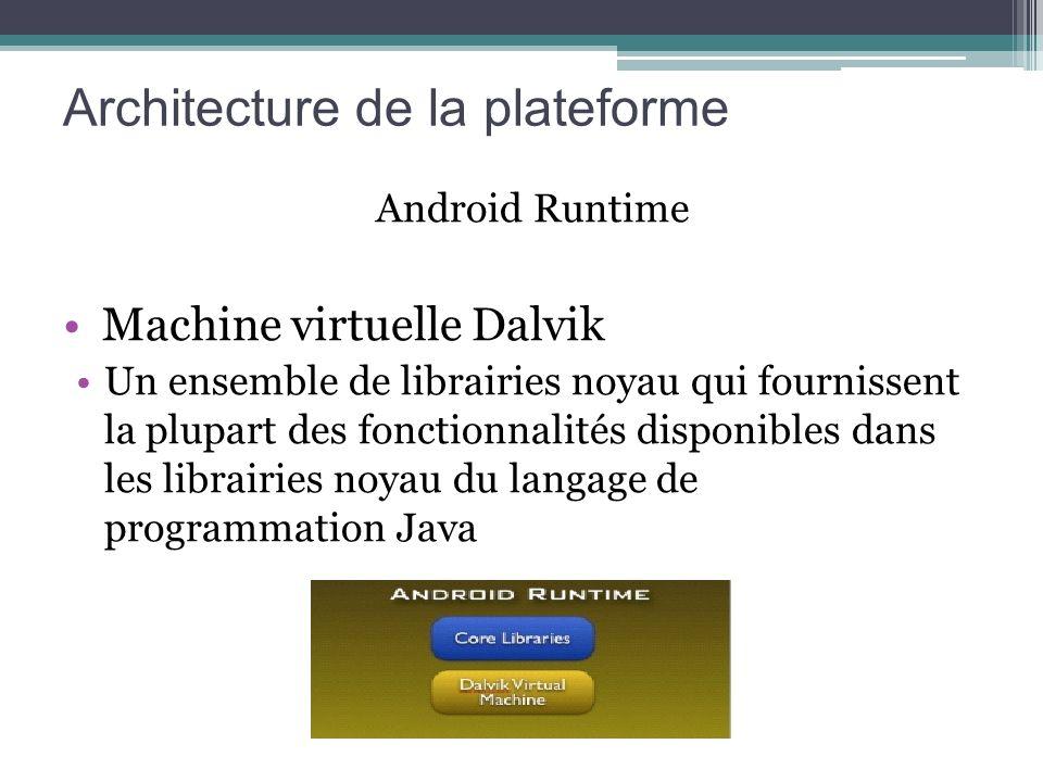 Android Runtime Machine virtuelle Dalvik Un ensemble de librairies noyau qui fournissent la plupart des fonctionnalités disponibles dans les librairie