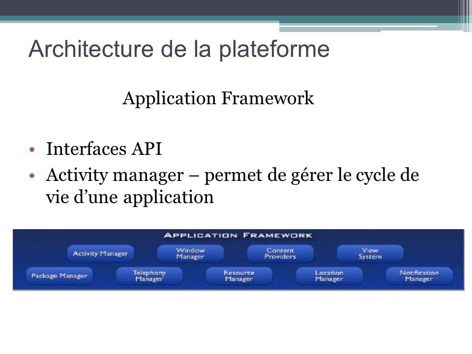 Application Framework Interfaces API Activity manager – permet de gérer le cycle de vie dune application Architecture de la plateforme