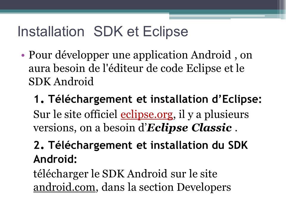 Installation SDK et Eclipse Pour développer une application Android, on aura besoin de l'éditeur de code Eclipse et le SDK Android 1. Téléchargement e