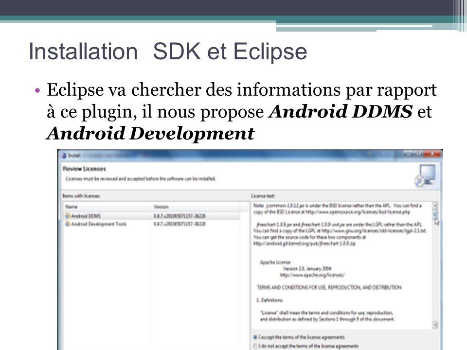 Eclipse va chercher des informations par rapport à ce plugin, il nous propose Android DDMS et Android Development