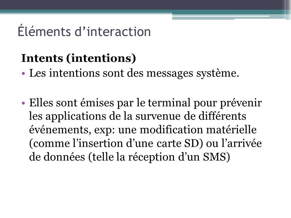 Intents (intentions) Les intentions sont des messages système. Elles sont émises par le terminal pour prévenir les applications de la survenue de diff