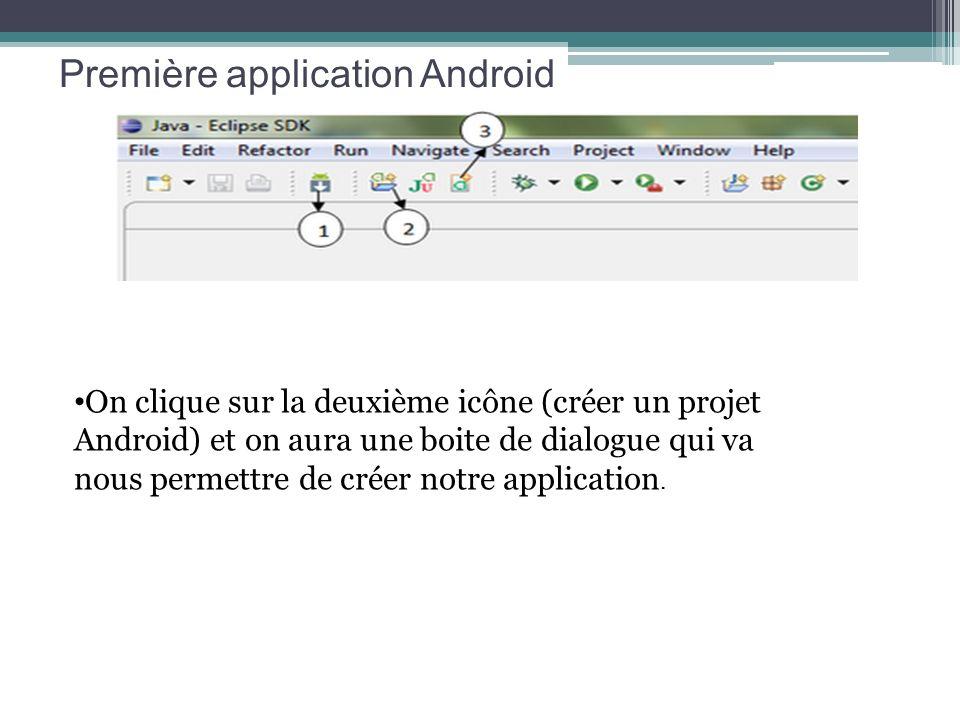 Première application Android On clique sur la deuxième icône (créer un projet Android) et on aura une boite de dialogue qui va nous permettre de créer