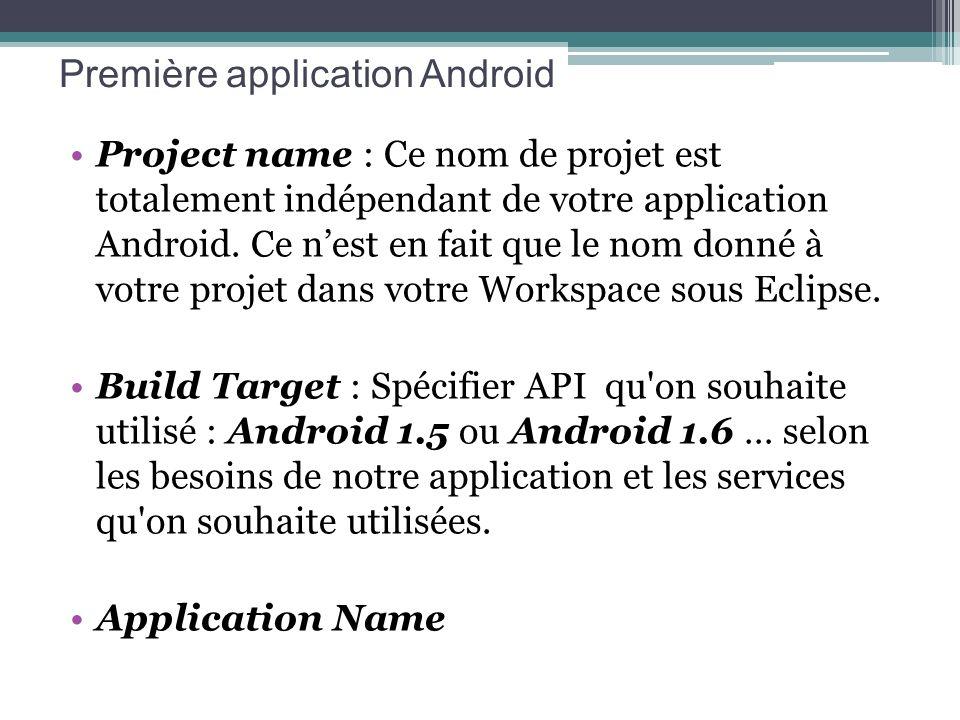 Project name : Ce nom de projet est totalement indépendant de votre application Android. Ce nest en fait que le nom donné à votre projet dans votre Wo