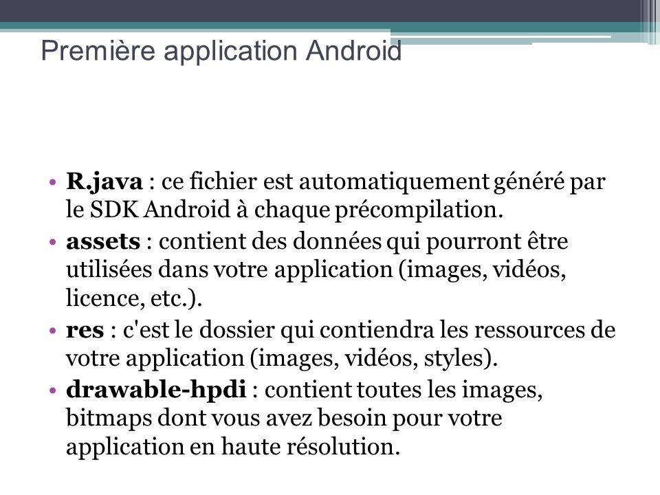 R.java : ce fichier est automatiquement généré par le SDK Android à chaque précompilation. assets : contient des données qui pourront être utilisées d