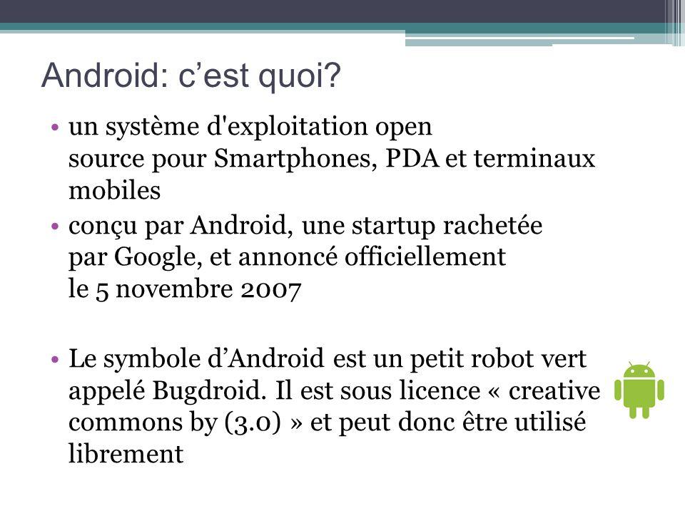 Android: cest quoi? un système d'exploitation open source pour Smartphones, PDA et terminaux mobiles conçu par Android, une startup rachetée par Googl