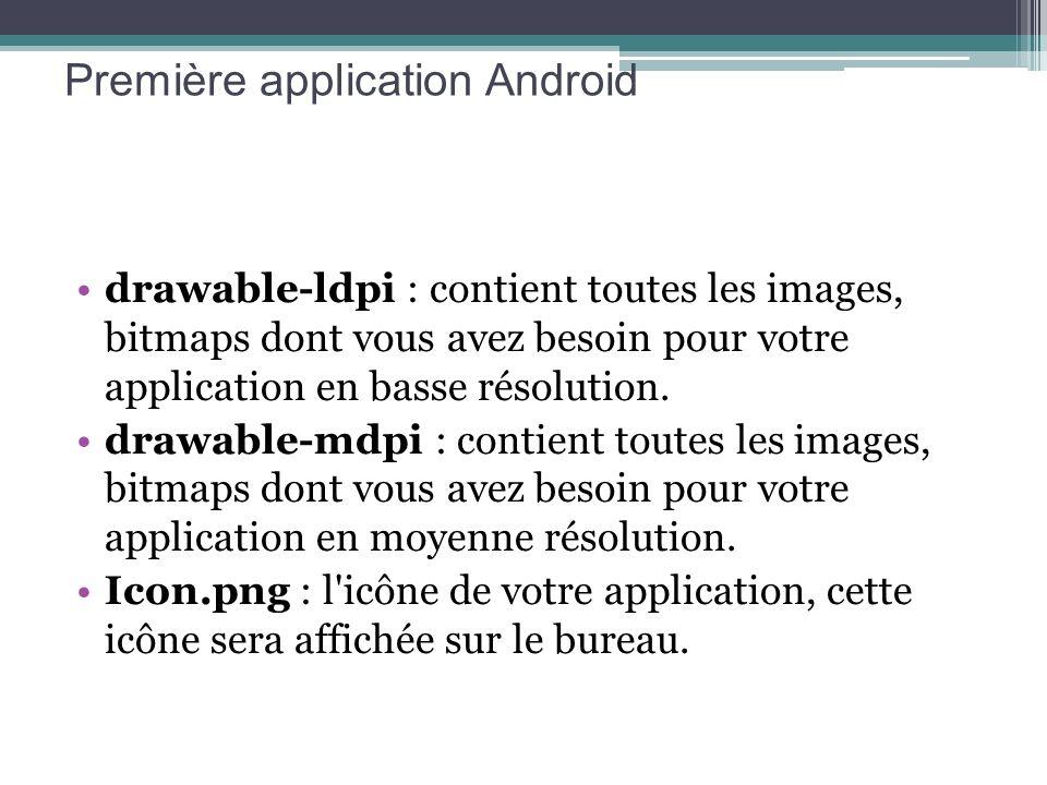 drawable-ldpi : contient toutes les images, bitmaps dont vous avez besoin pour votre application en basse résolution. drawable-mdpi : contient toutes