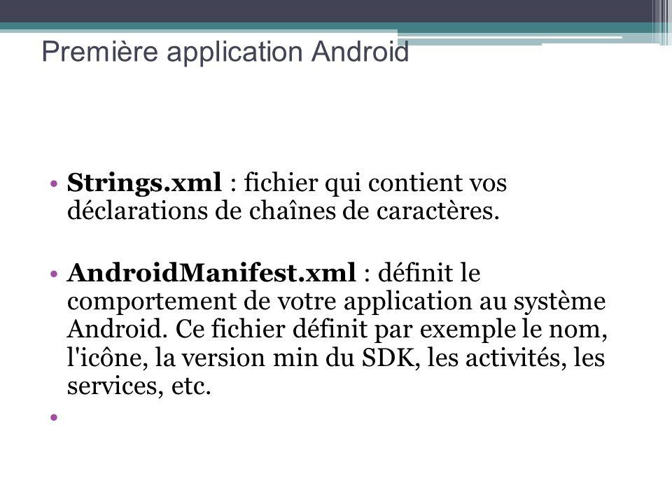 Strings.xml : fichier qui contient vos déclarations de chaînes de caractères. AndroidManifest.xml : définit le comportement de votre application au sy