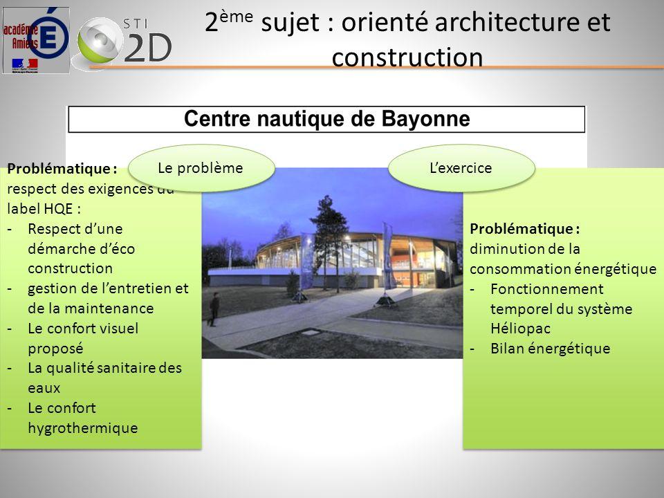 2 ème sujet : orienté architecture et construction Problématique : respect des exigences du label HQE : -Respect dune démarche déco construction -gest