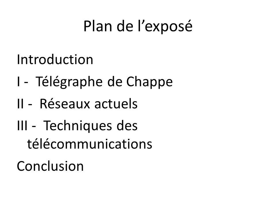 Plan de lexposé Introduction I - Télégraphe de Chappe II - Réseaux actuels III - Techniques des télécommunications Conclusion