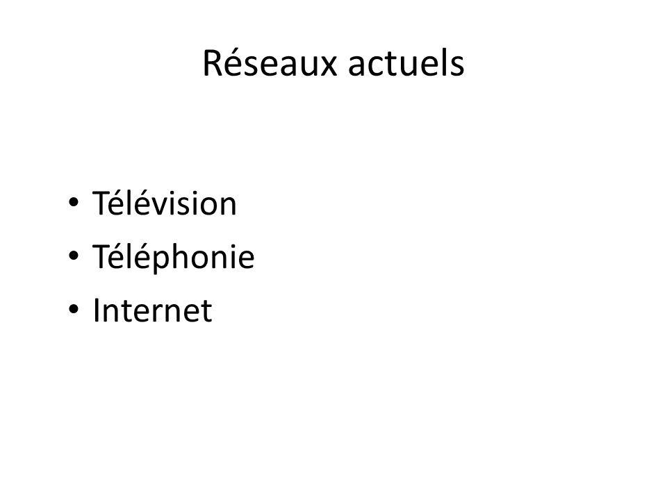 Télévision 1 ère retransmission publique de télévision en direct à Londres le 26 janvier 1926 1956 : on atteint 500 000 récepteurs de télévision en France Au 1 er semestre 2010, 85,8% des foyers français ont au moins un téléviseur (source CSA) Exemple de réseau : la BBC