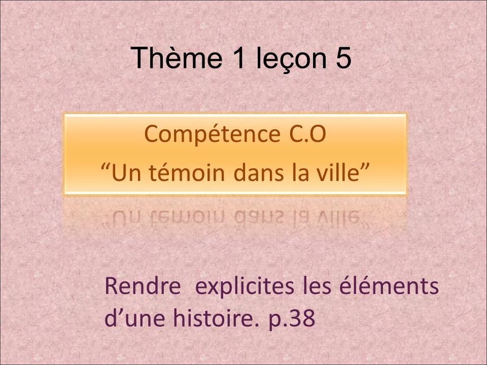 Thème 1 leçon 5 Rendre explicites les éléments dune histoire. p.38