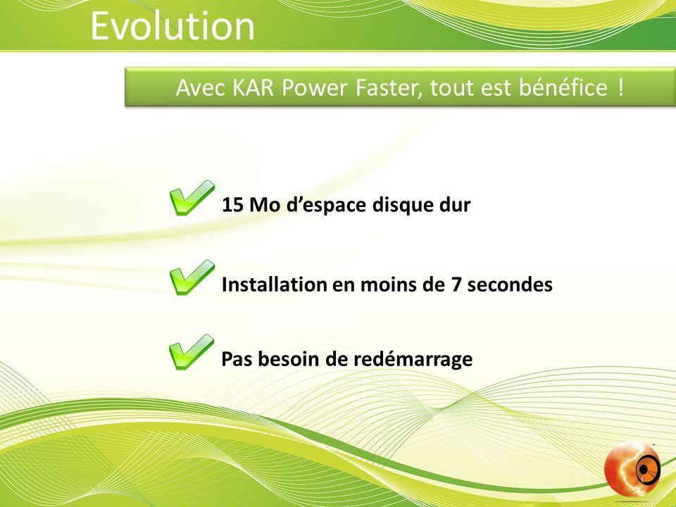 Avec KAR Power Faster, tout est bénéfice ! 15 Mo despace disque dur Installation en moins de 7 secondes Pas besoin de redémarrage Evolution