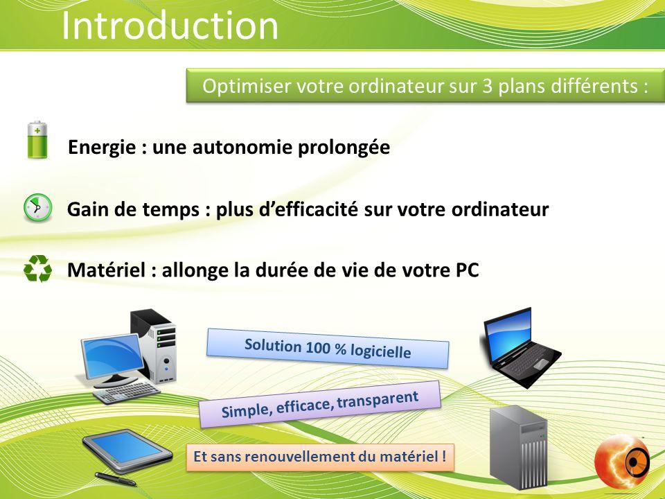 Introduction Energie : une autonomie prolongée Matériel : allonge la durée de vie de votre PC Gain de temps : plus defficacité sur votre ordinateur Op