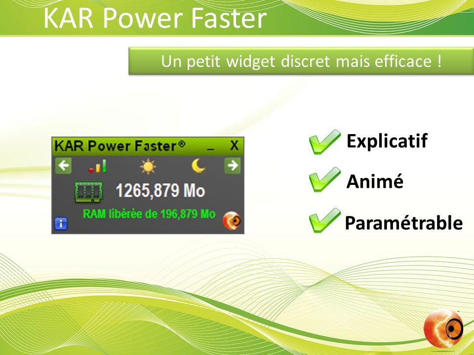 Un petit widget discret mais efficace ! Explicatif Animé Paramétrable KAR Power Faster