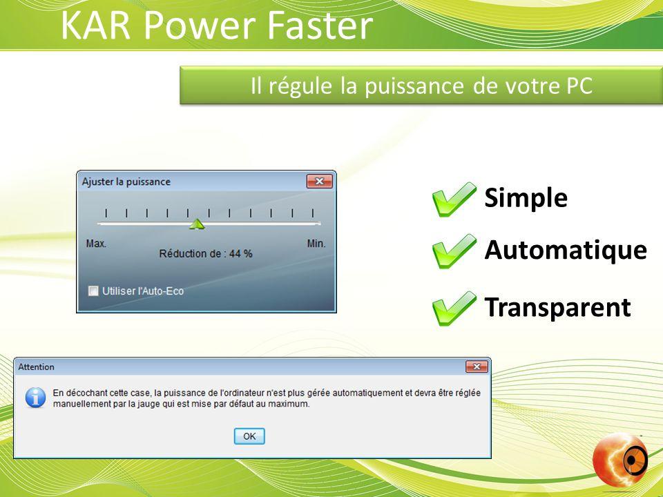 Il régule la puissance de votre PC Simple Automatique Transparent KAR Power Faster