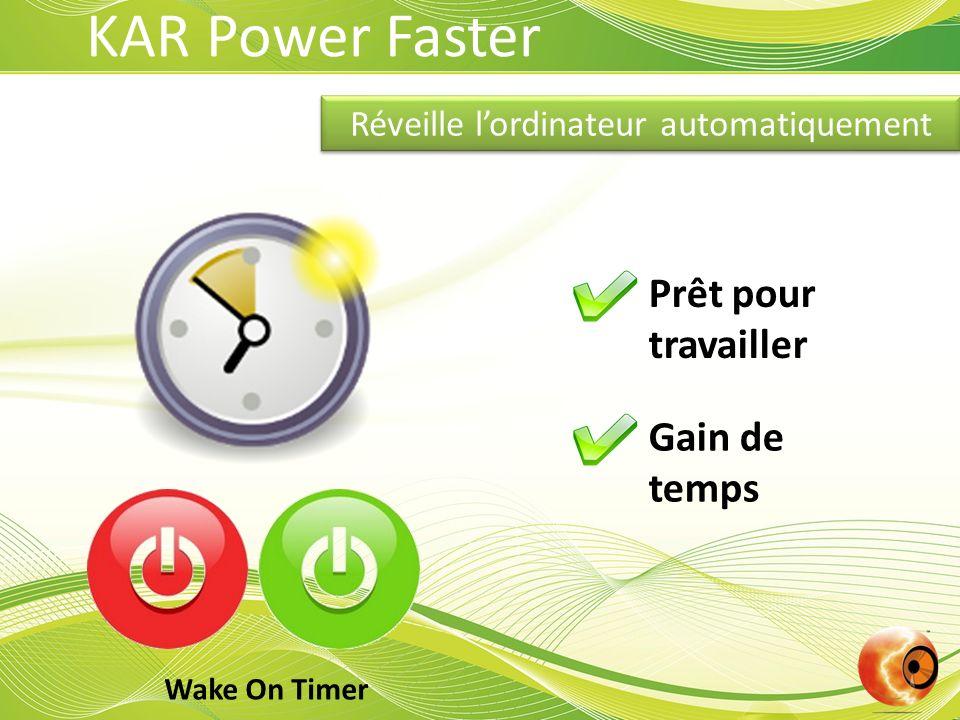 Gestion de lintensité lumineuse Autonomie prolongée Toujours actifEfficace KAR Power Faster