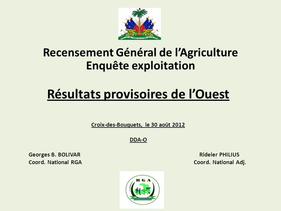 Recensement Général de lAgriculture Résultats provisoires de lOuest Croix-des-Bouquets, le 30 août 2012 DDA-O Georges B. BOLIVAR Rideler PHILIUS Coord