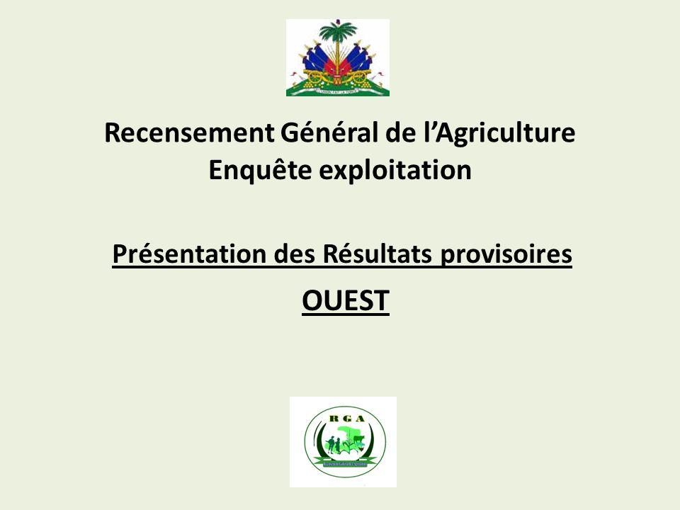 Recensement Général de lAgriculture Présentation des Résultats provisoires Enquête exploitation OUEST