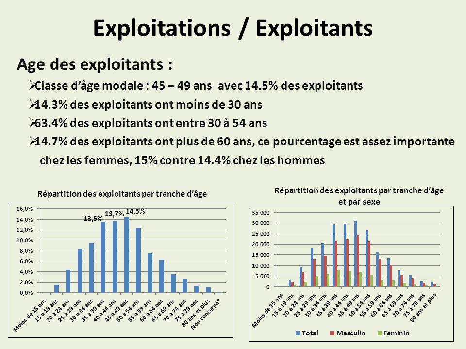 Exploitations / Exploitants Age des exploitants : Classe dâge modale : 45 – 49 ans avec 14.5% des exploitants 14.3% des exploitants ont moins de 30 ans 63.4% des exploitants ont entre 30 à 54 ans 14.7% des exploitants ont plus de 60 ans, ce pourcentage est assez importante chez les femmes, 15% contre 14.4% chez les hommes Répartition des exploitants par tranche dâge Répartition des exploitants par tranche dâge et par sexe