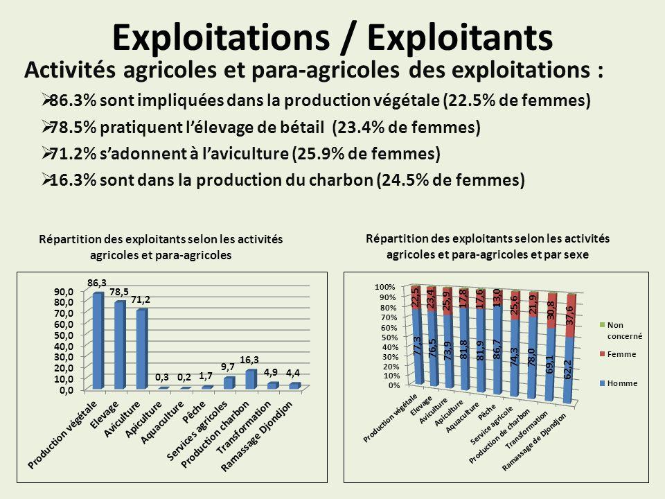 Exploitations / Exploitants Activités agricoles et para-agricoles des exploitations : 86.3% sont impliquées dans la production végétale (22.5% de femmes) 78.5% pratiquent lélevage de bétail (23.4% de femmes) 71.2% sadonnent à laviculture (25.9% de femmes) 16.3% sont dans la production du charbon (24.5% de femmes) Répartition des exploitants selon les activités agricoles et para-agricoles Répartition des exploitants selon les activités agricoles et para-agricoles et par sexe