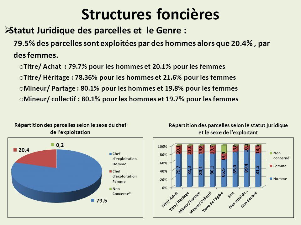Structures foncières Statut Juridique des parcelles et le Genre : 79.5% des parcelles sont exploitées par des hommes alors que 20.4%, par des femmes.