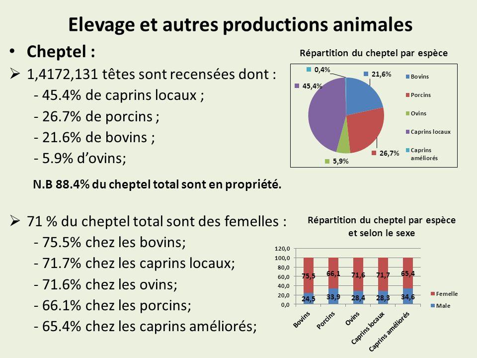 Elevage et autres productions animales Cheptel : 1,4172,131 têtes sont recensées dont : - 45.4% de caprins locaux ; - 26.7% de porcins ; - 21.6% de bovins ; - 5.9% dovins; N.B 88.4% du cheptel total sont en propriété.