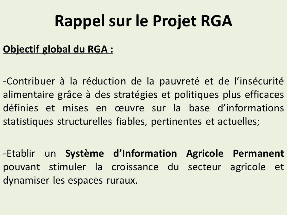 Rappel sur le Projet RGA Objectif global du RGA : -Contribuer à la réduction de la pauvreté et de linsécurité alimentaire grâce à des stratégies et politiques plus efficaces définies et mises en œuvre sur la base dinformations statistiques structurelles fiables, pertinentes et actuelles; -Etablir un Système dInformation Agricole Permanent pouvant stimuler la croissance du secteur agricole et dynamiser les espaces ruraux.