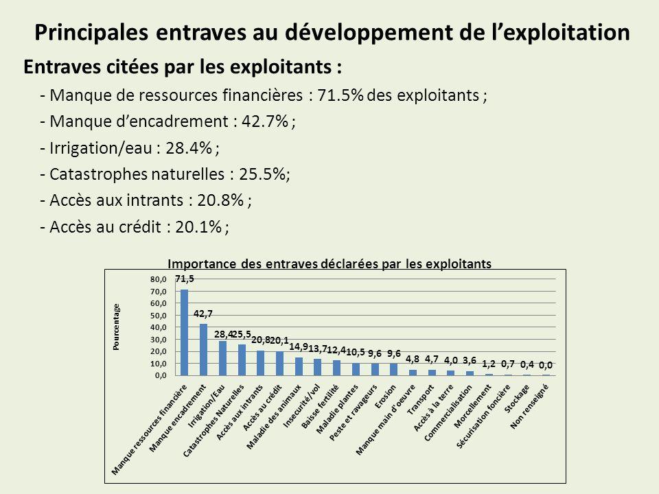 Principales entraves au développement de lexploitation Entraves citées par les exploitants : - Manque de ressources financières : 71.5% des exploitants ; - Manque dencadrement : 42.7% ; - Irrigation/eau : 28.4% ; - Catastrophes naturelles : 25.5%; - Accès aux intrants : 20.8% ; - Accès au crédit : 20.1% ; Importance des entraves déclarées par les exploitants