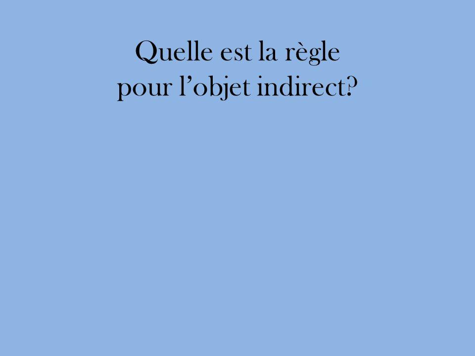 Quelle est la règle pour lobjet indirect?