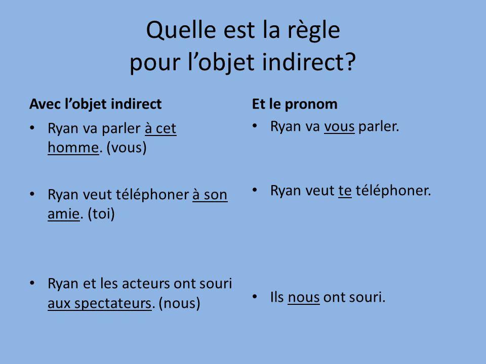 Avec lobjet indirect Ryan va parler à cet homme.(vous) Ryan veut téléphoner à son amie.