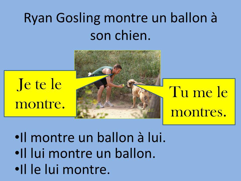 Ryan Gosling montre un ballon à son chien.Il montre un ballon à lui.