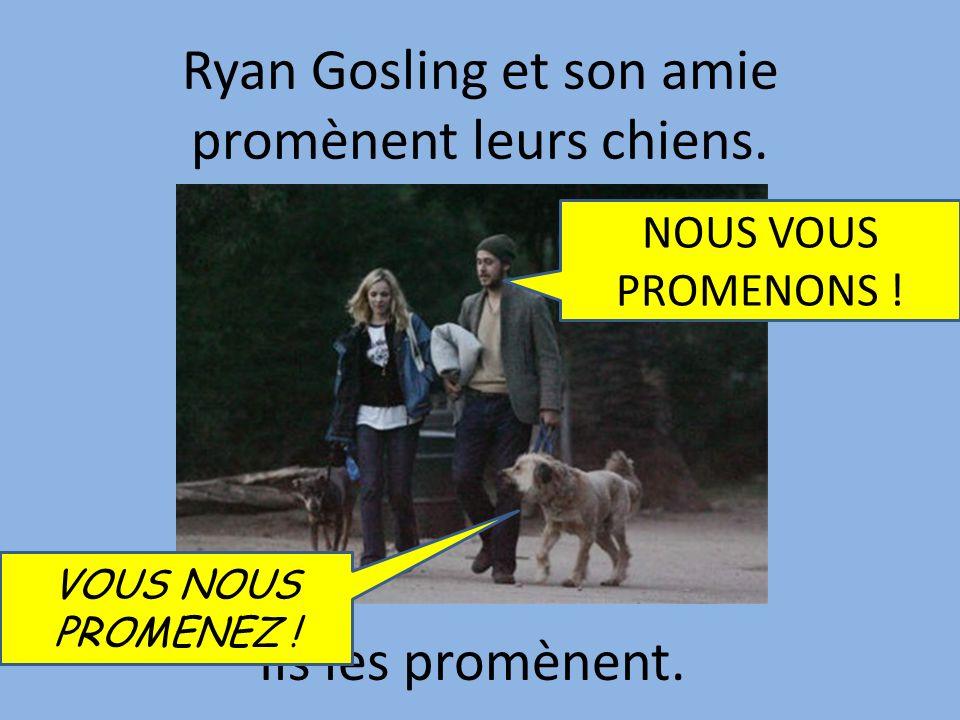 Ryan Gosling et son amie promènent leurs chiens.Ils les promènent.