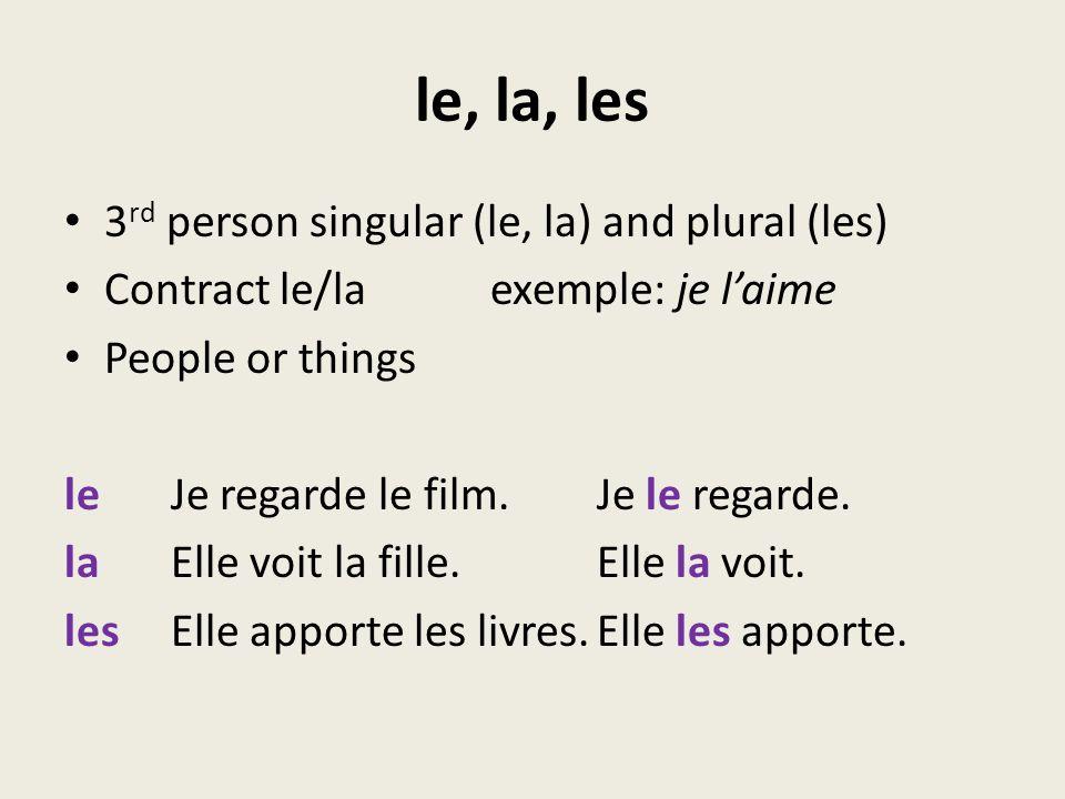 le, la, les 3 rd person singular (le, la) and plural (les) Contract le/la exemple: je laime People or things leJe regarde le film.Je le regarde. laEll