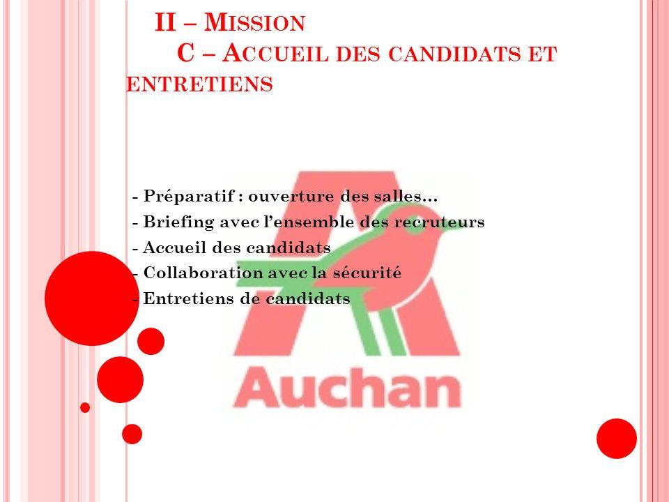 II – M ISSION D – S ATISFACTION DES BESOINS - Synthèse de la journée de recrutement - Réunion avec chaque Chef de Secteur de Rayon - Appel du candidat retenu