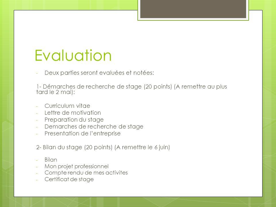 Evaluation - Deux parties seront evaluées et notées: 1- Démarches de recherche de stage (20 points) (A remettre au plus tard le 2 mai): - Curriculum vitae - Lettre de motivation - Preparation du stage - Demarches de recherche de stage - Presentation de lentreprise 2- Bilan du stage (20 points) (A remettre le 6 juin) - Bilan - Mon projet professionnel - Compte rendu de mes activites - Certificat de stage