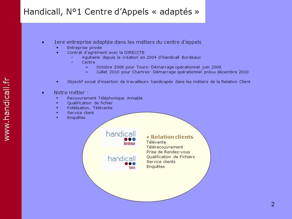 www.handicall.fr Handicall, N°1 Centre dAppels « adaptés » 1ere entreprise adaptée dans les métiers du centre dappels Entreprise privée Contrat dagrém